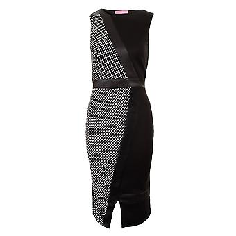 Ladies ärmellos weiss Wein Knie Länge PVC Kontrast Polka Dot Midi Women's Dress