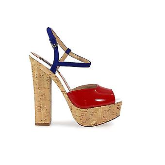 DSQUARED2 ZIGGY PATENT SUEDE RED BLU SANDAL