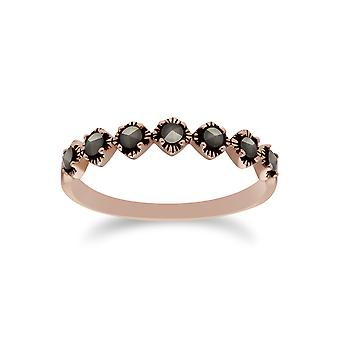 Gemondo Rose guld pläterat Sterling Silver Markasit halv evighet Ring