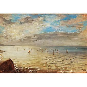 ディエップ、ウジェーヌ ・ ドラクロワ、35x51cm の海