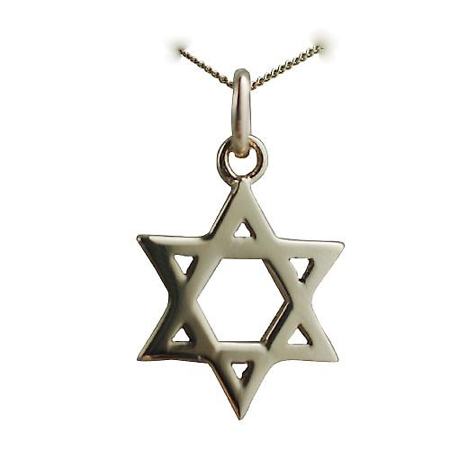 9ct Gold 17x17mm plain Star of David Pendant with a curb chain