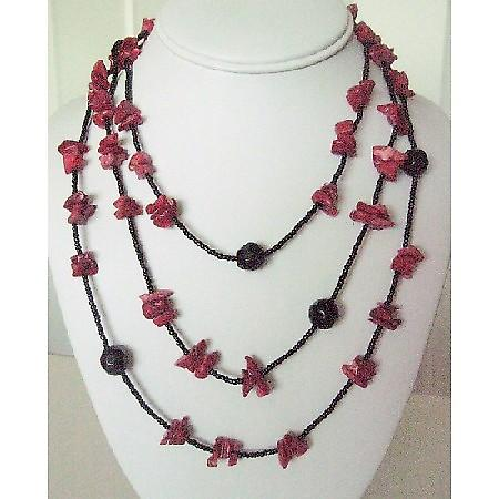 Coral Nuggets Long Necklace w/ Black Beads 30 Inches Long Necklace