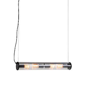 QAZQA colgante Vintage lámpara 4 negro cilindro acanalado cristal - Costilla