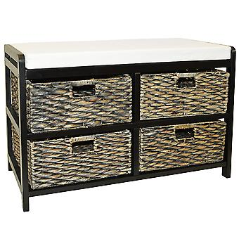 Canterbury - Double Storage / Shoe Storage Bench With Baskets - Brown / Black