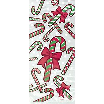 20 Cellophane Party Bags - Christmas Candy Cane | Gift Wrap Supplies