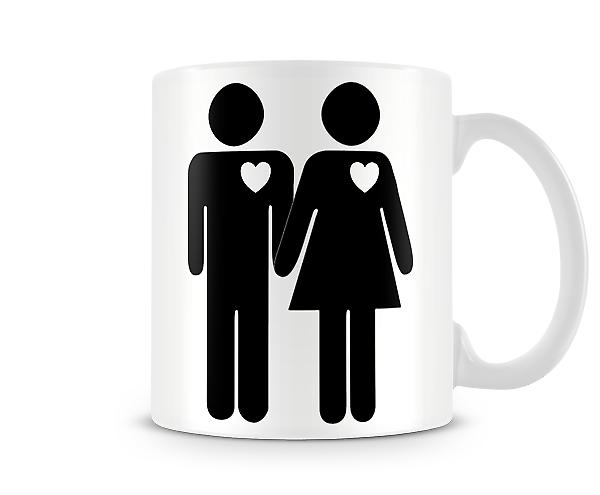 Stick Man And Woman Heart Printed Mug