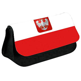 Poland Flag Printed Design Pencil Case for Stationary/Cosmetic - 0140 (Black) by i-Tronixs