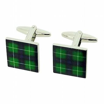 Jakob Strauss Gents Silvertone Scottish McDonald Green Tartan Square Cufflinks
