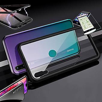 Para Huawei Y6 2019 ímã/metal/saco de vidro caso preto/transparente + 0,26 mm H9 Hart Glass