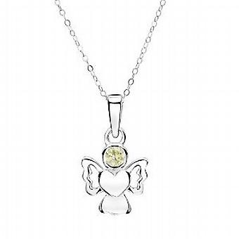 Jo For Girls Sterling Silver August Birthstone Angel Peridot Color Pendant