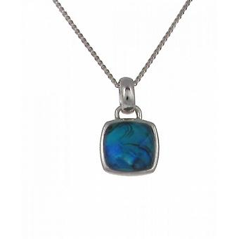 "Cavendish French Diddy Square Blue Paua Shell Pendant with 16 - 18"" Silver Chain"