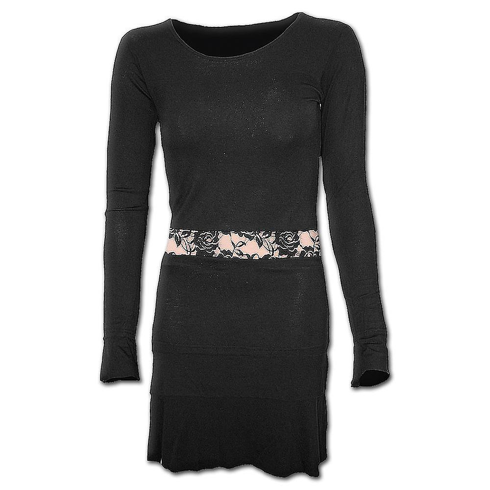 Spiral Direct Gothic GOTHIC ELEGANCE - Fullsleeve Lace Waist Dress Black|Gothic