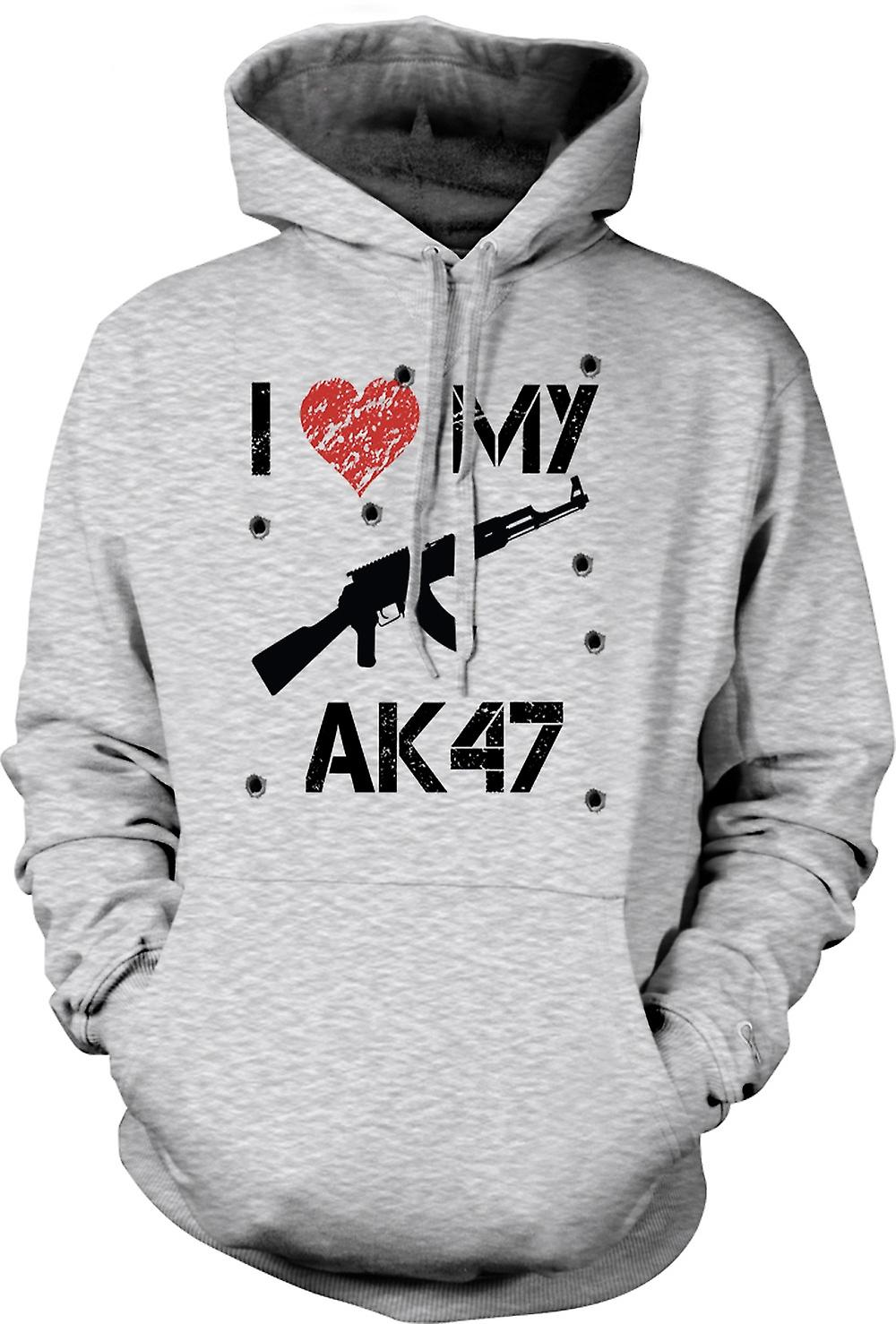 Mens Hoodie - jag älskar min AK47 - rolig
