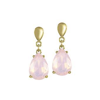 Colección eterna seducción lágrima Rosewater ópalo cristal oro tono gota pendientes perforados