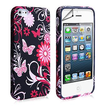YouSave iPhone 5 5 s Floral Schmetterling Hard Case PinkBlack