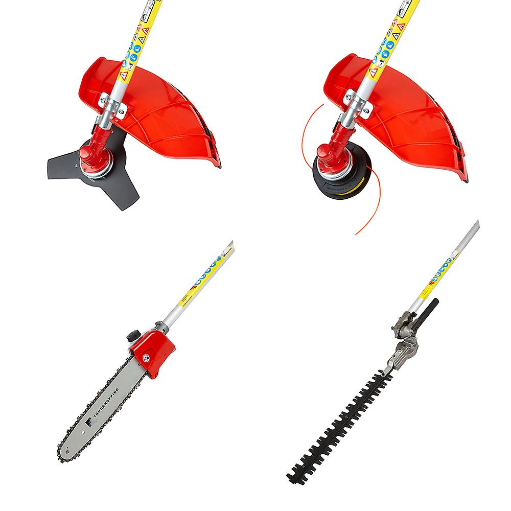 52cc Petrol 5-in-1 Tool Trimmer Cutter Saw Pruner - Gloves Ear Defenders Goggles