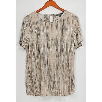 Lisa Rinna Collection Women's Top Printed Knit w/ Open Back Beige A291099