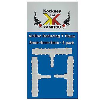 Kockney Koi 8mm-4mm-8mm Airline Reducing T Piece (3pk)