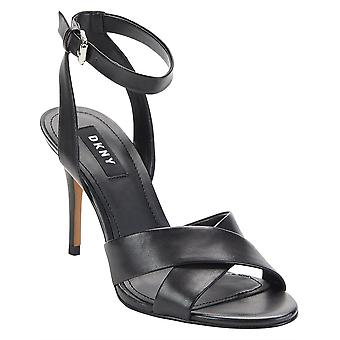 DKNY Womens Ivy Leather Open Toe Ankle Strap Classic Pumps