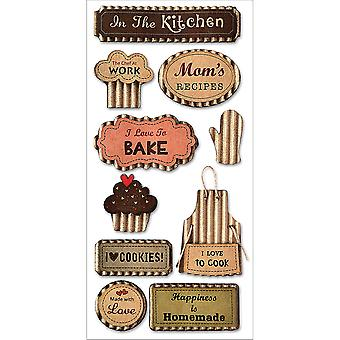 MultiCraft Kraft Paper Elements Stickers-Love To Cook SS882-C