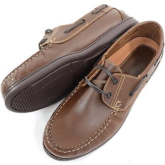 Men's Leather Casual / Formal / Holiday Slip On Boat / Deck Loafer Lace Up Shoes  - Khaki - UK 8
