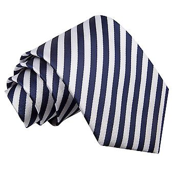 Men's Thin Stripe White & Navy Blue Tie