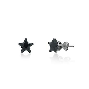 Urban Male Sterling Silver 7mm Black Star CZ Stud Earrings