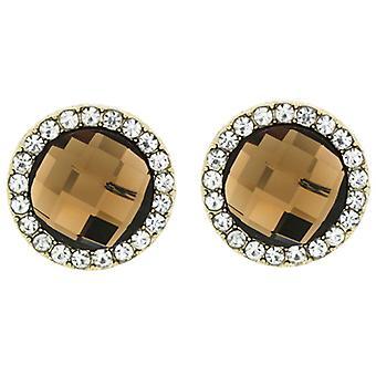 Clip On Earrings Store Round Gold & Light Topaz Facet Crystal Clip On Earrings