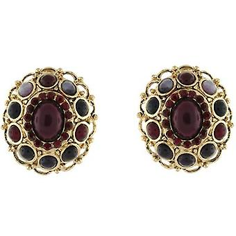 Clip On Earrings Store Gold  and  Burgundy Cabochons Vintage Clip on Earrings