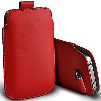 ( Red ) Pouch Case For Doogee Y300 (5 inch) case Premium Stylish Faux Leather Pull Tab Pouch Skin Case Various Colours To Choose FromDoogee Y300 (5 inch) Cover By i-Tronixs