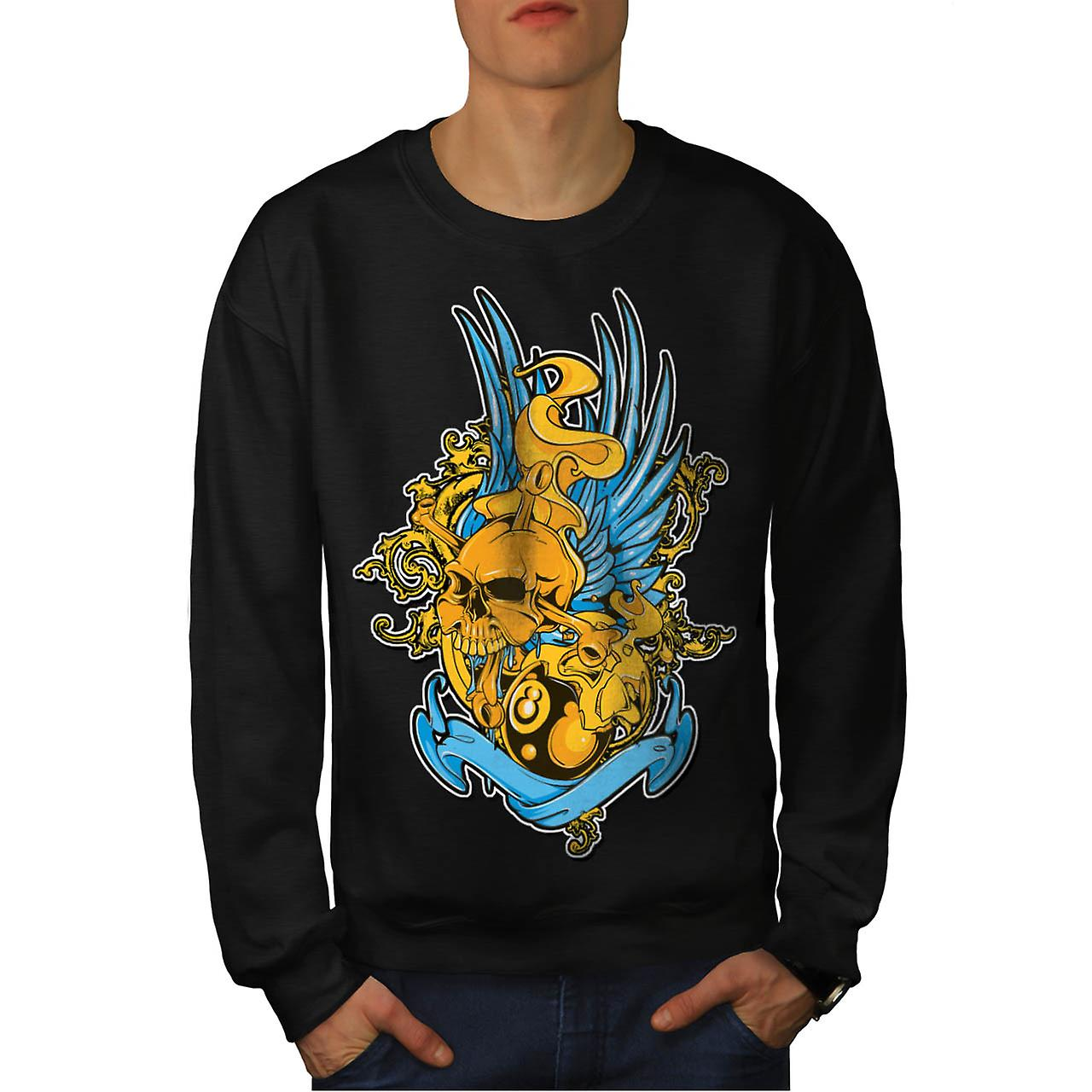 Monster Skull Pool Ball Fear Pot Men Black Sweatshirt | Wellcoda