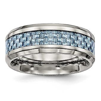 8mm Stainless Steel Polished Blue Carbon Fiber Inlay Ring - Size 9.5