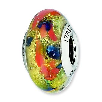 Sterling Silver Antique finish Italian Murano Glass Reflections Gold Red Green Blue Italian Murano Bead Charm