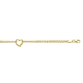 14 k gule gull dobbel tråd kabel kjeden Anklet stasjonen åpen slipp hjertet sjarm - 2,5 gram - 10 tommers