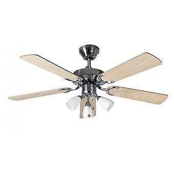Ceiling Fan Genoa Stainless Steel with light 107 cm / 42