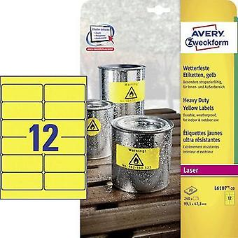 Avery-Zweckform L6107-20 Labels (A4) 99.1 x 42.3 mm Polyester film Yellow 240 pc(s) Permanent All-purpose labels, Weathe