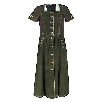 Caeso long dress Lady dress leather dress suede cotton black-green
