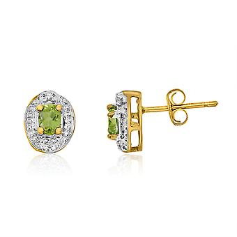 14k Yellow Gold Peridot Earrings with Diamonds