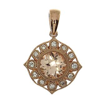 14k Rose Gold Round Morganite and Diamond Pendant with 18