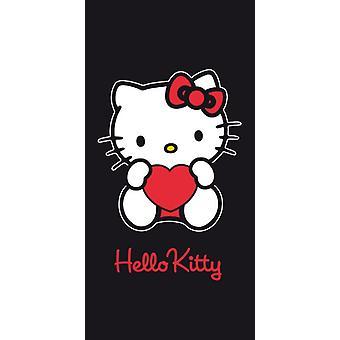 Hello Kitty bad håndklæde 75x150cm hjerte og havet