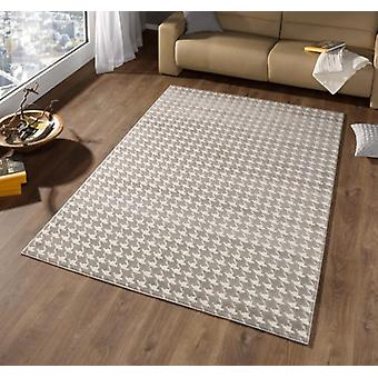 Design velour carpet high-deep effect Houndstooth taupe cream | 102284