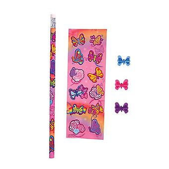 Butterfly Sticker and stationery set - Value Pack of 8
