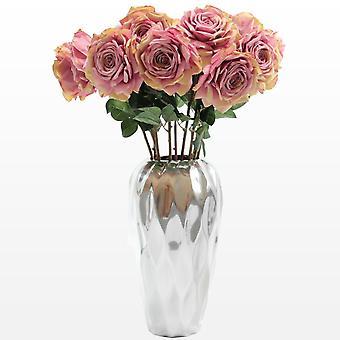 Saffronstem kunstige blomster - lyserød roser sæt af 3, fremstillet af Latex, ægte Touch og ser