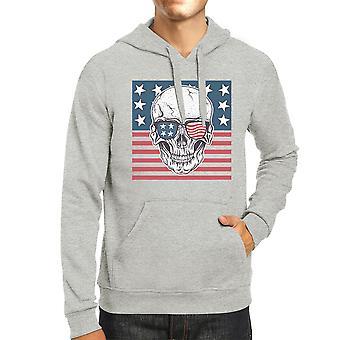 Skull American Flag Unisex Grey Hoodie Round Neck Pullover Fleece