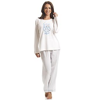Camille White Fleece blaue Eule Motiv-Pyjama-Set