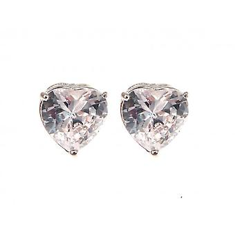 W.A.T Silver Style Sparkling CZ Heart Shaped Crystal Earrings