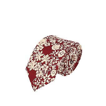 Snobbop narrow tie Club tie tie red creme floral 6 cm