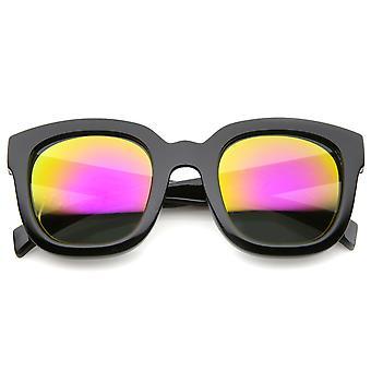 Vet Oversize stevige Frame hoorn omrande Mirror Lens Square zonnebril 53mm