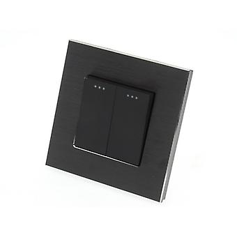 I LumoS Luxury Black Brushed Aluminium Frame 2 Gang 1 Way Rocker Wall Light Switches