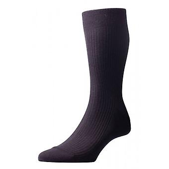 Pantherella Naish Rib Merino Wool Socks - Black